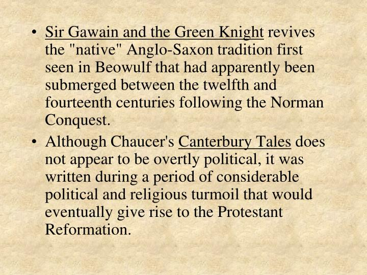 sir gawain the canterbury tales or beowulf Home sir gawain and the green knight q & a examining specific characters and character traits from the three books beowulf, canterbury tales and sir gawain.
