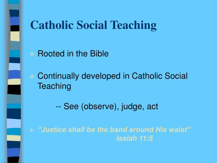 catholic social teachings Catholic social teaching is a body of doctrine developed by the catholic church on matters of poverty and wealth, economics, social organization and the role of the state.