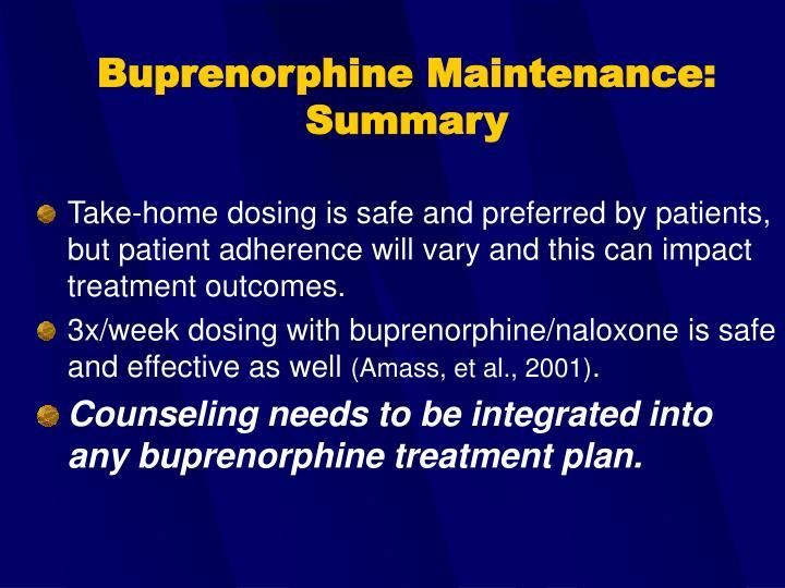 Buprenorphine Maintenance:  Summary