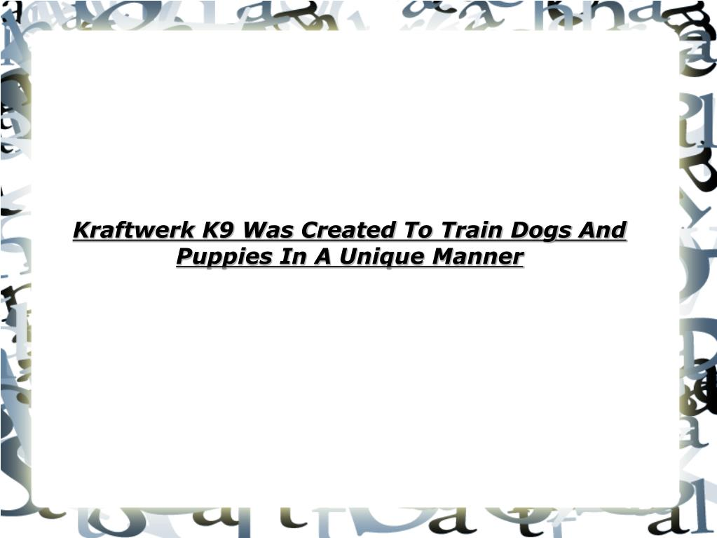 kraftwerk k9 was created to train dogs and puppies in a unique manner l.