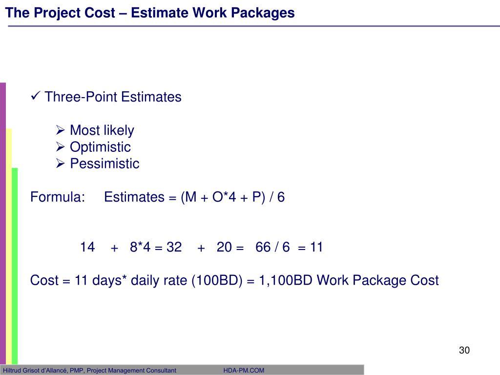 Three point estimate formula project management
