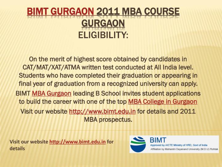 Bimt gurgaon 2011 mba course gurgaon eligibility
