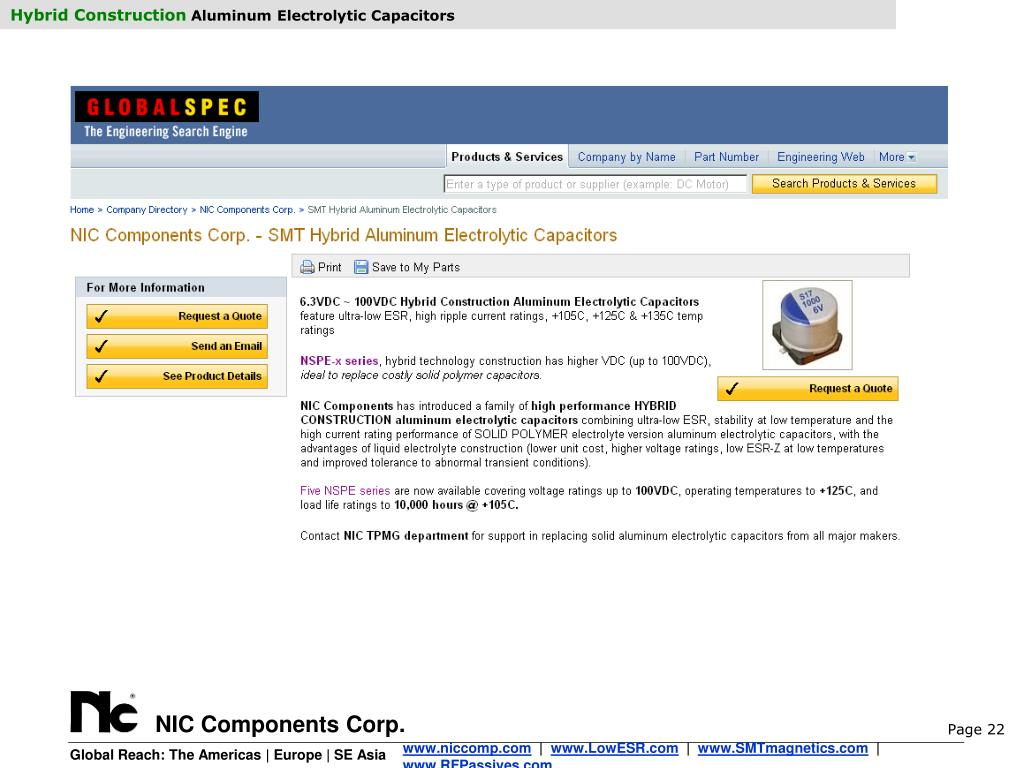 PPT - Hybrid Construction Aluminum Electrolytic Capacitors