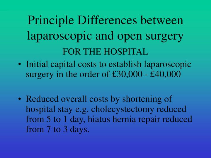 Principle Differences between laparoscopic and open surgery