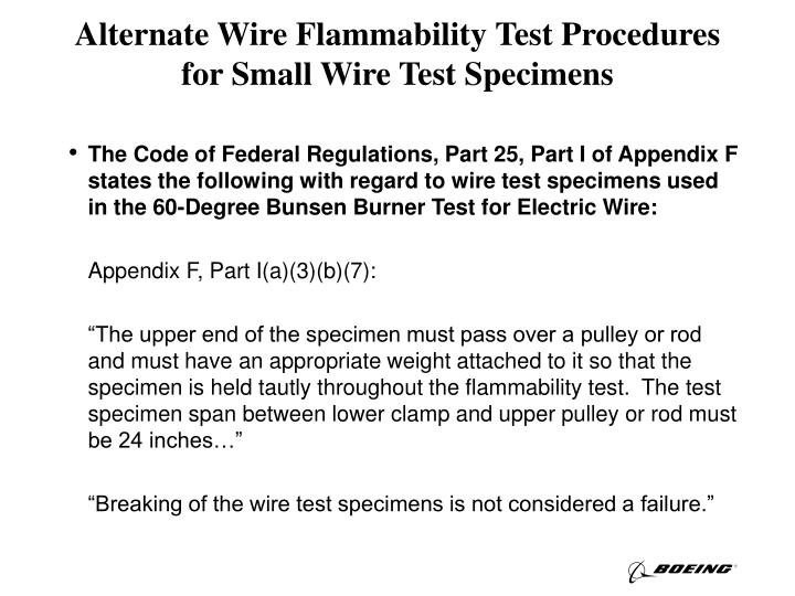 Alternate Wire Flammability Test Procedures for Small Wire Test Specimens