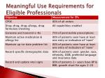 meaningful use requirements for eligible professionals