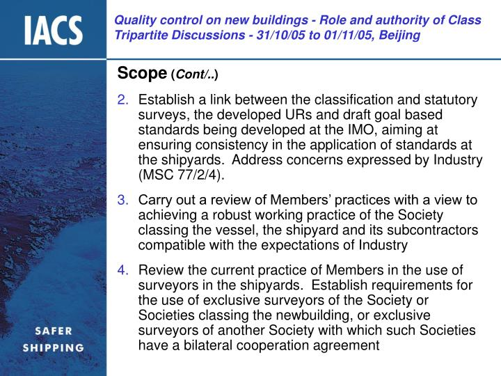Quality control on new buildings - Role and authority of Class