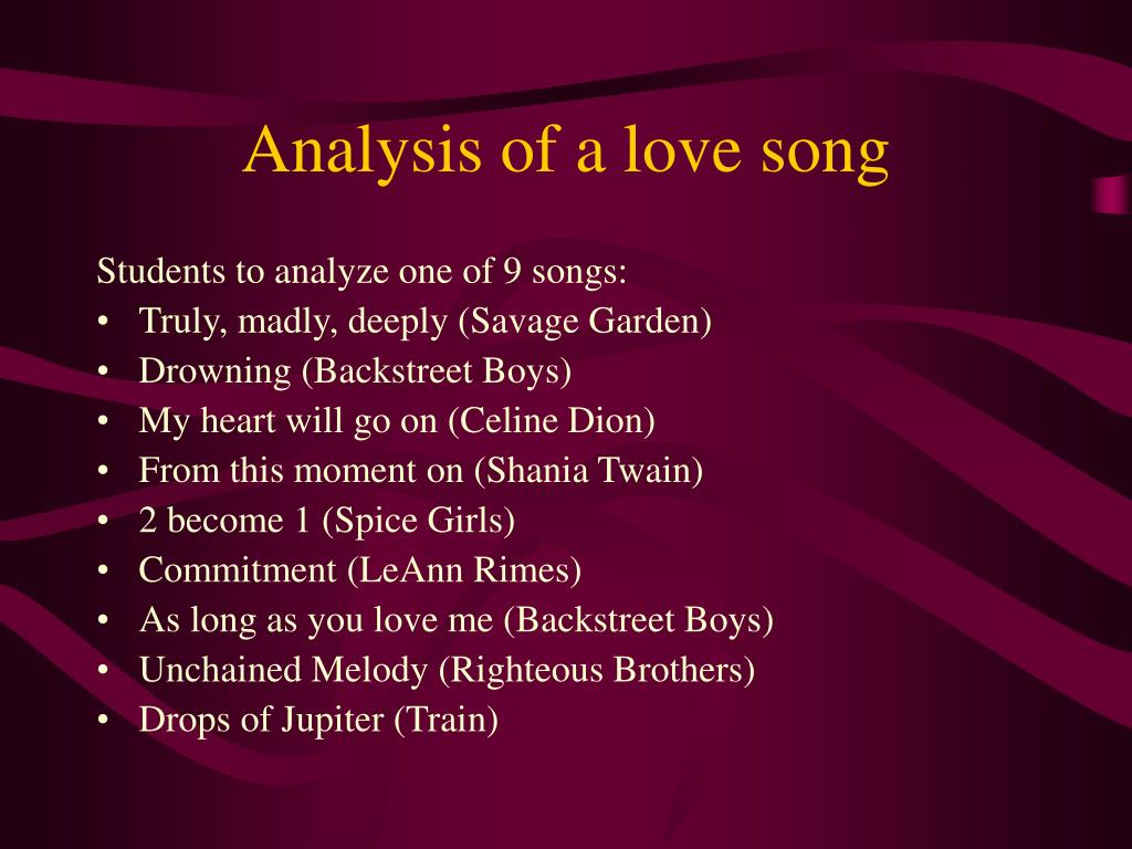 Analysis of a love song