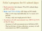 felix s progress for 81 school days