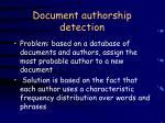document authorship detection