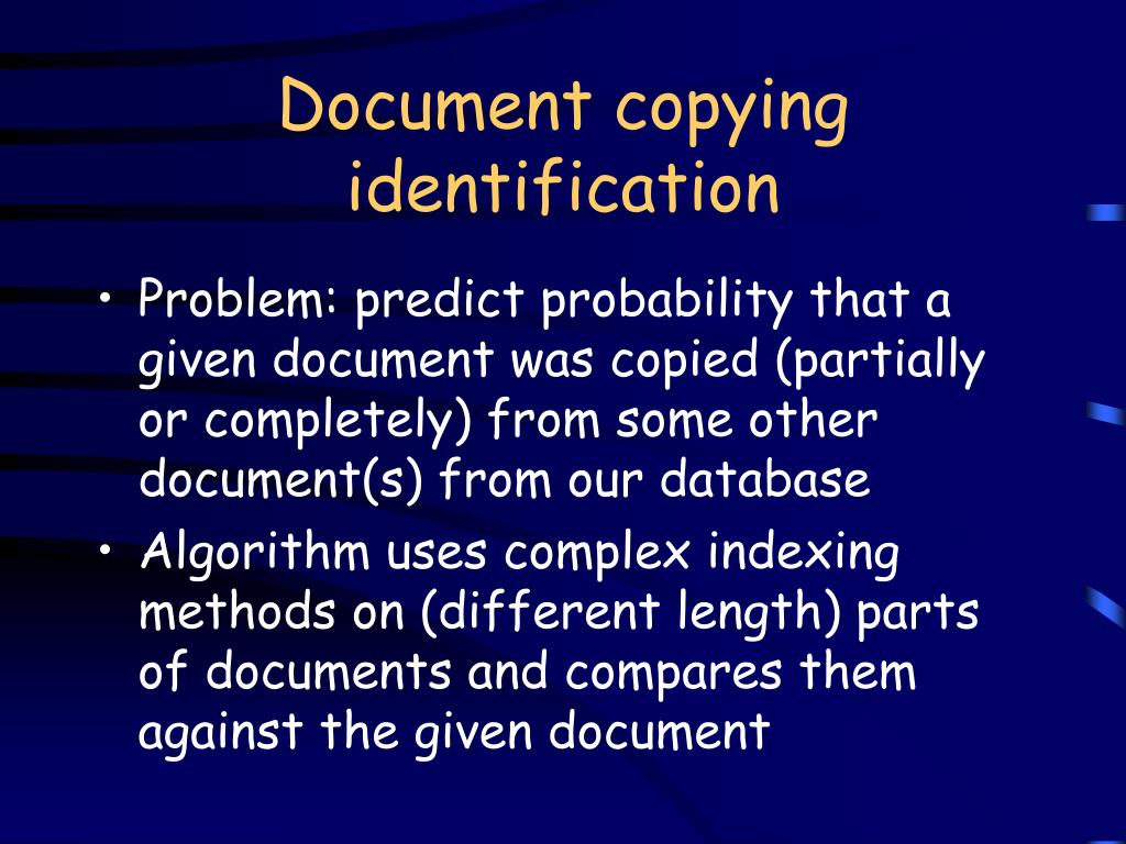 Document copying identification