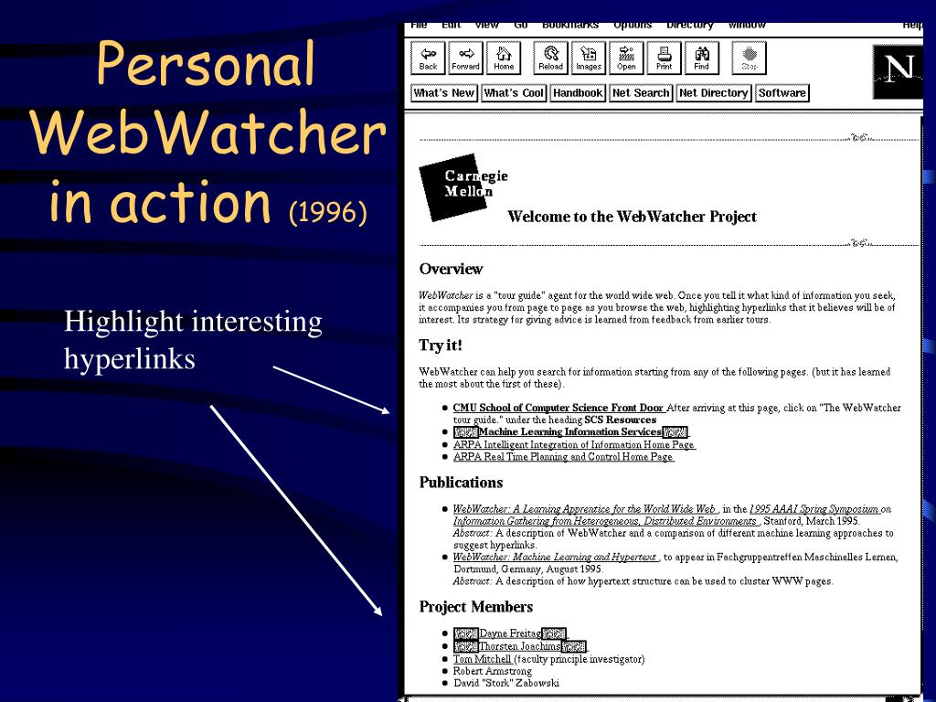 Personal WebWatcher in action