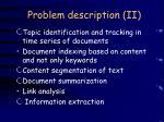 problem description ii