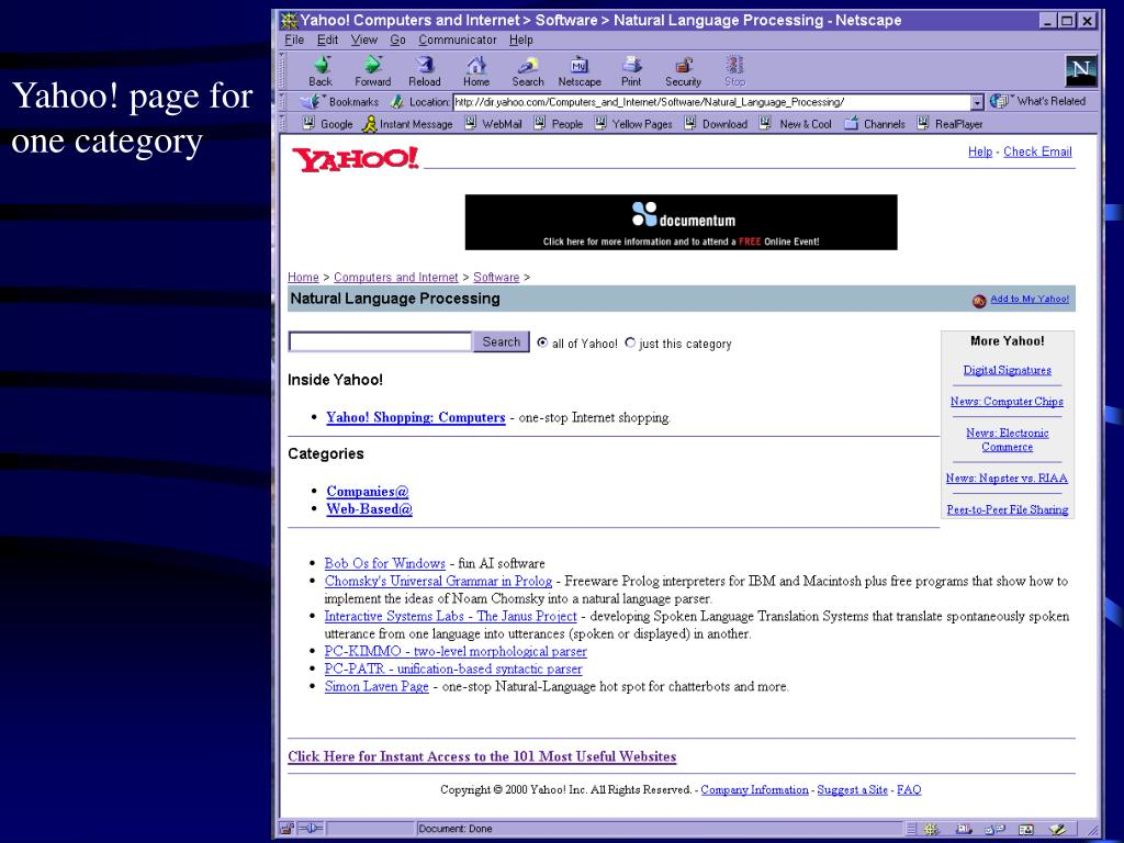 Yahoo! page for one category