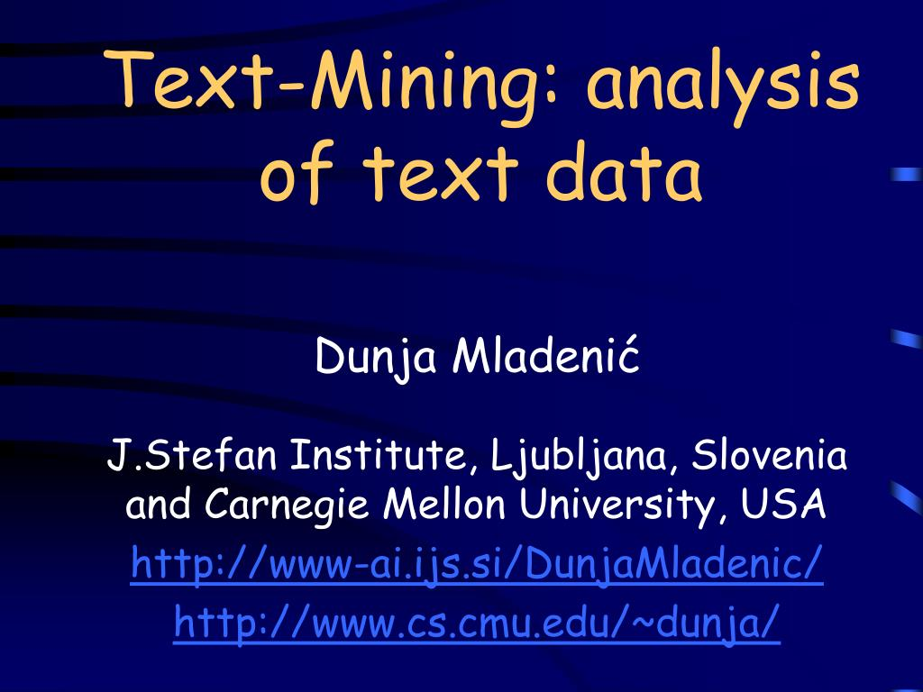 text mining analysis of text data l.