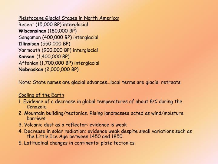 Pleistocene Glacial Stages in North America: