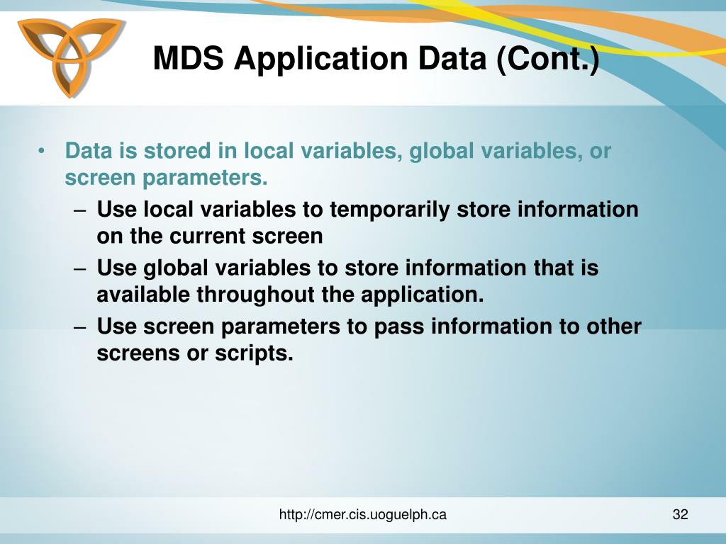 MDS Application Data (Cont.)