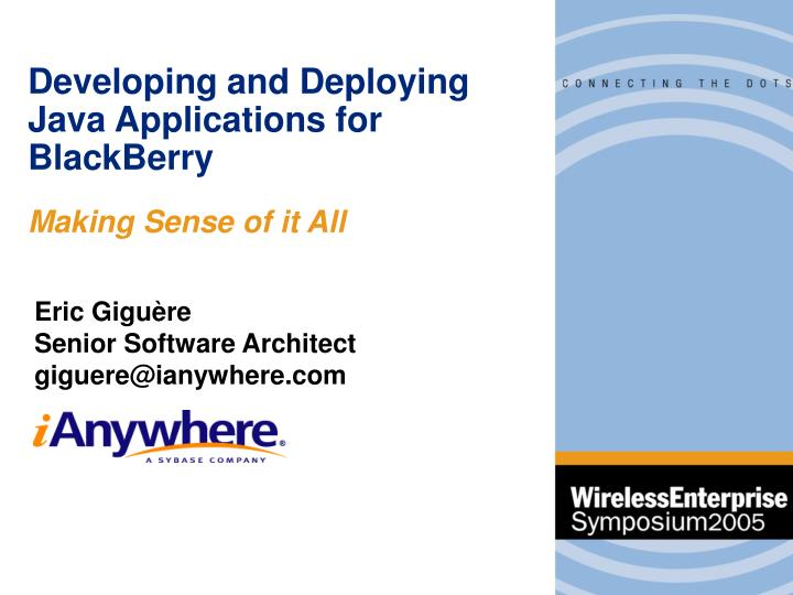 developing and deploying java applications for blackberry n.