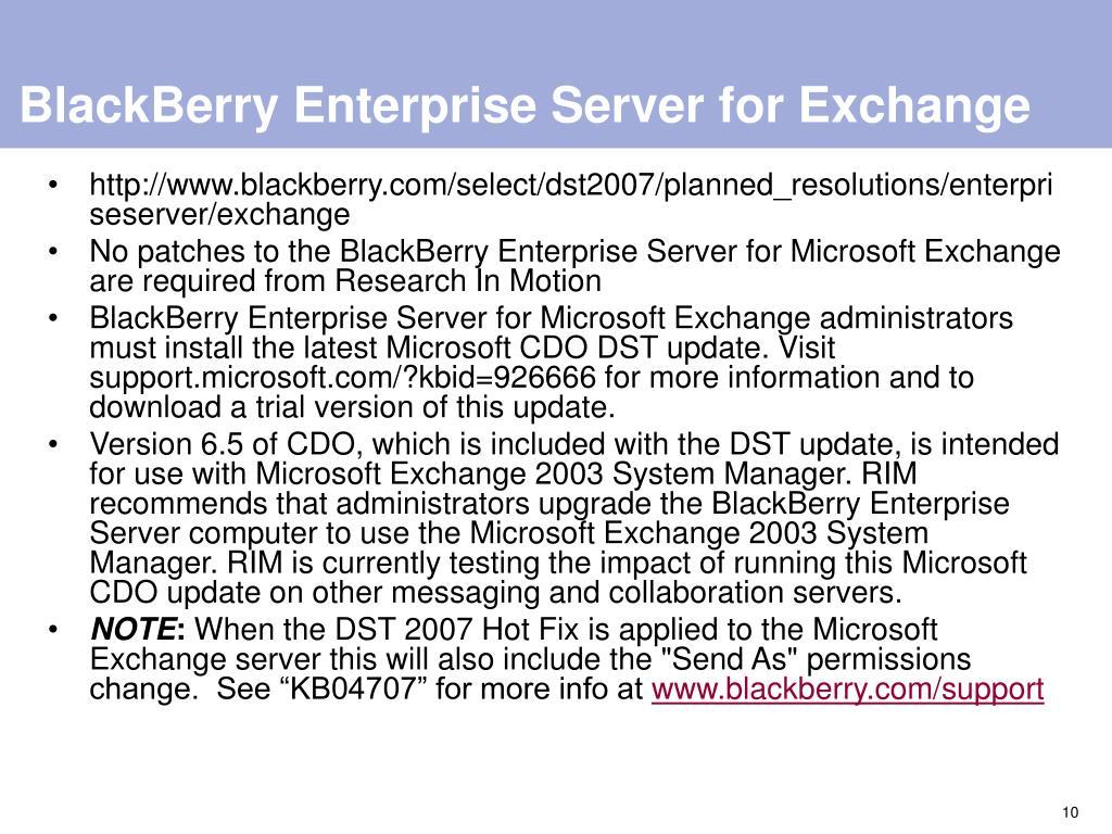BlackBerry Enterprise Server for Exchange