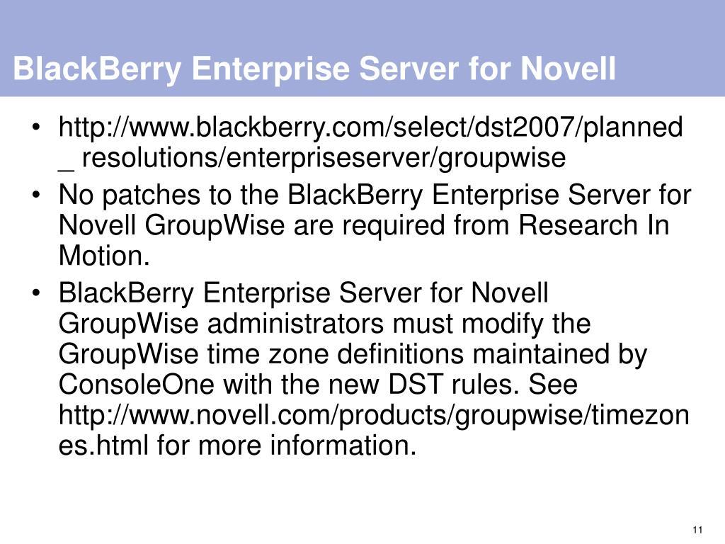 BlackBerry Enterprise Server for Novell