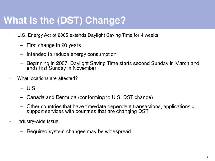 What is the dst change