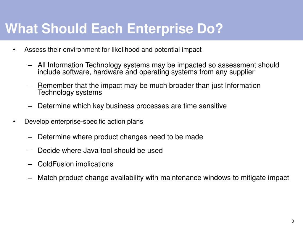 What Should Each Enterprise Do?