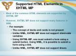 supported html elements in xhtml mp