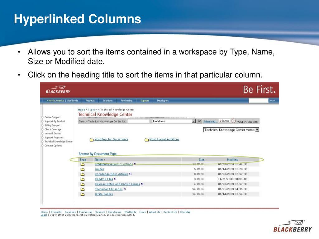 Hyperlinked Columns