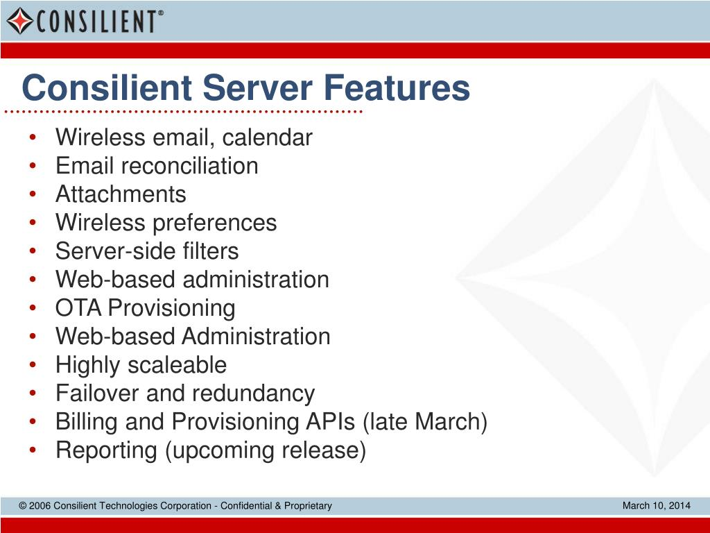 Consilient Server Features