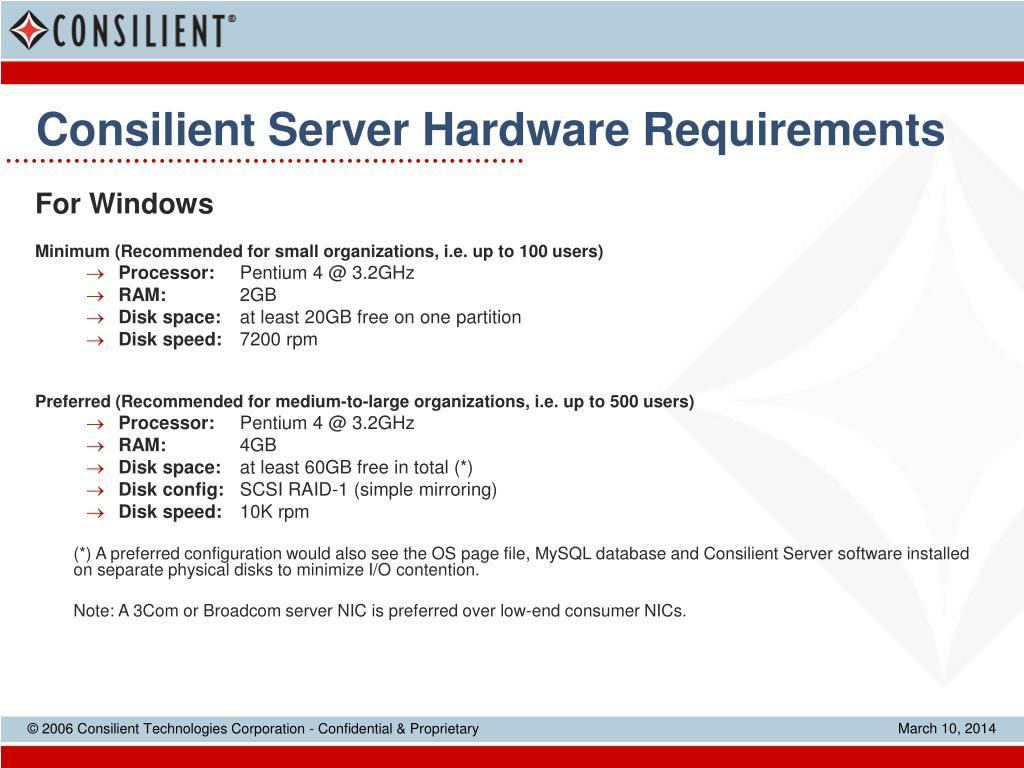 Consilient Server Hardware Requirements