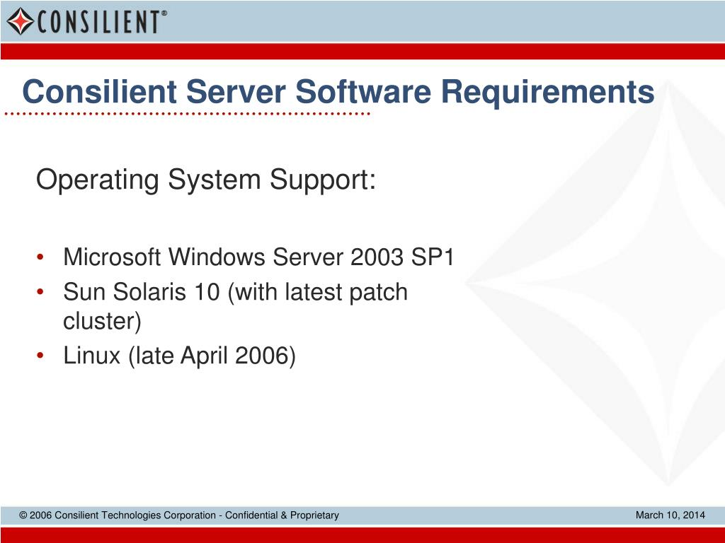 Consilient Server Software Requirements