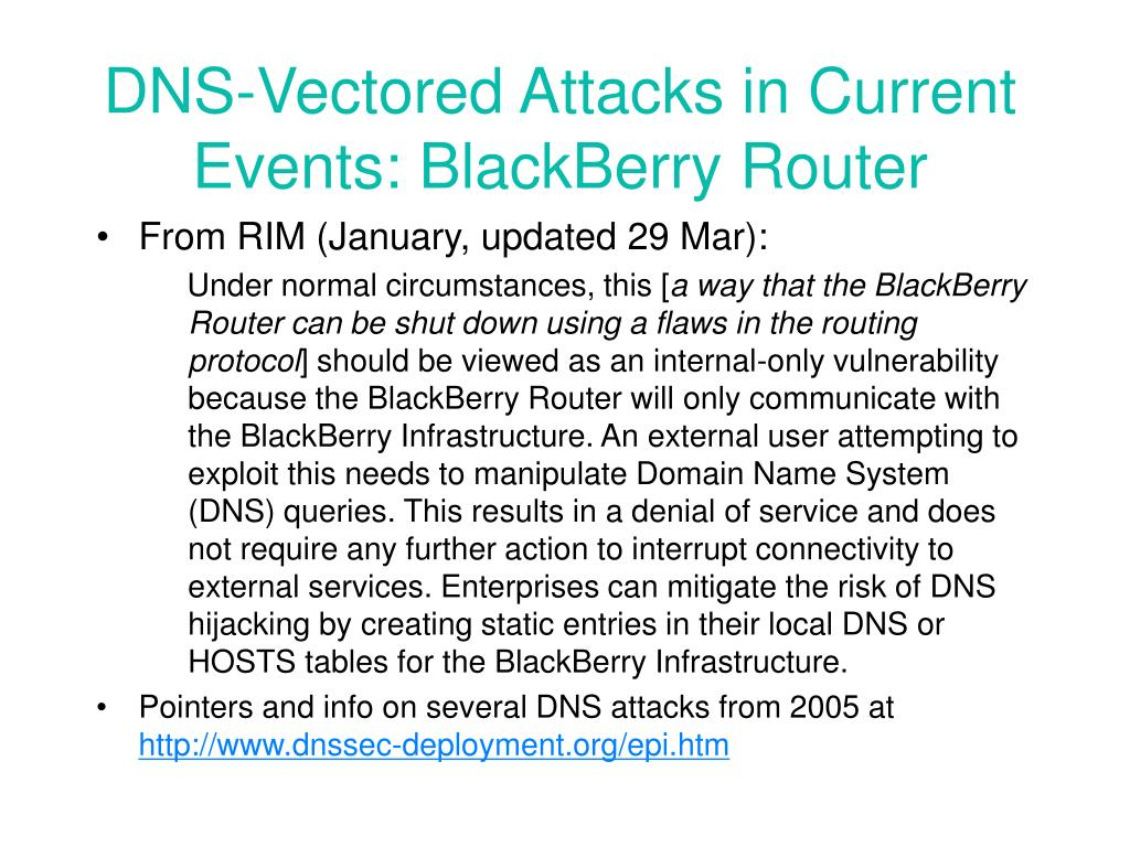 DNS-Vectored Attacks in Current Events: BlackBerry Router
