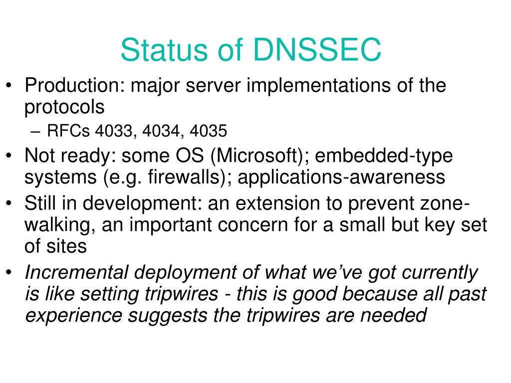 Status of DNSSEC