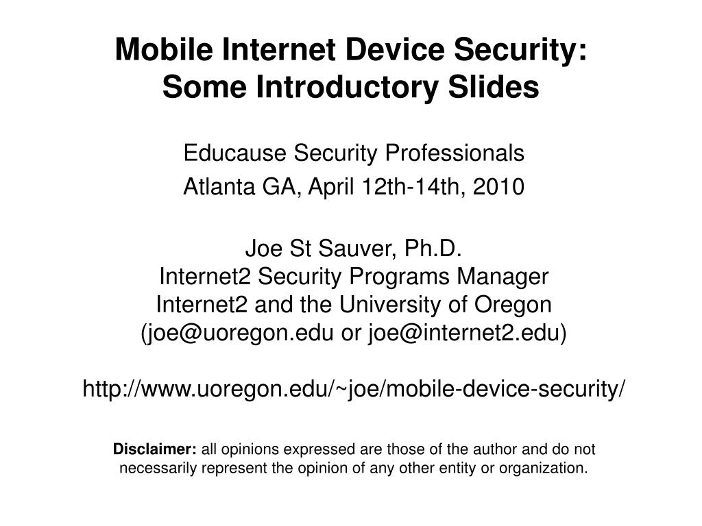 mobile internet device security some introductory slides l.