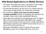 web based applications on mobile devices