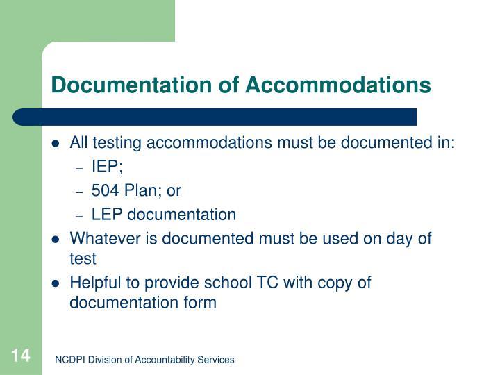 Documentation of Accommodations
