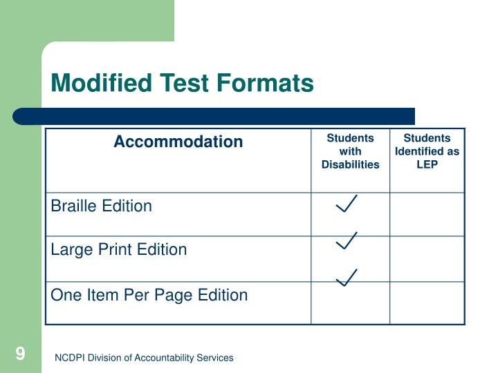Modified Test Formats