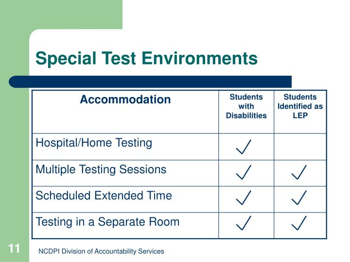 Special Test Environments