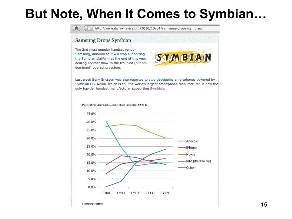 But Note, When It Comes to Symbian…