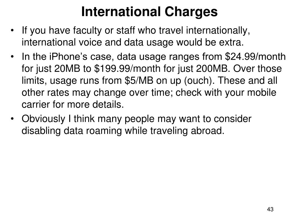 International Charges
