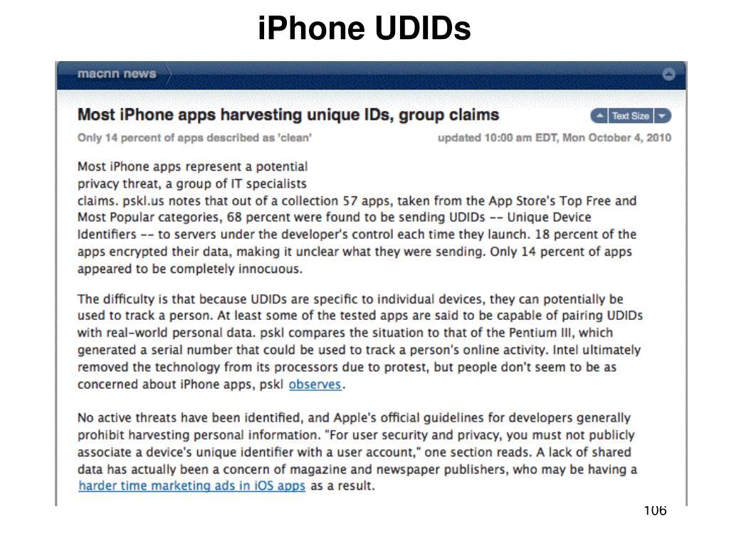 iPhone UDIDs