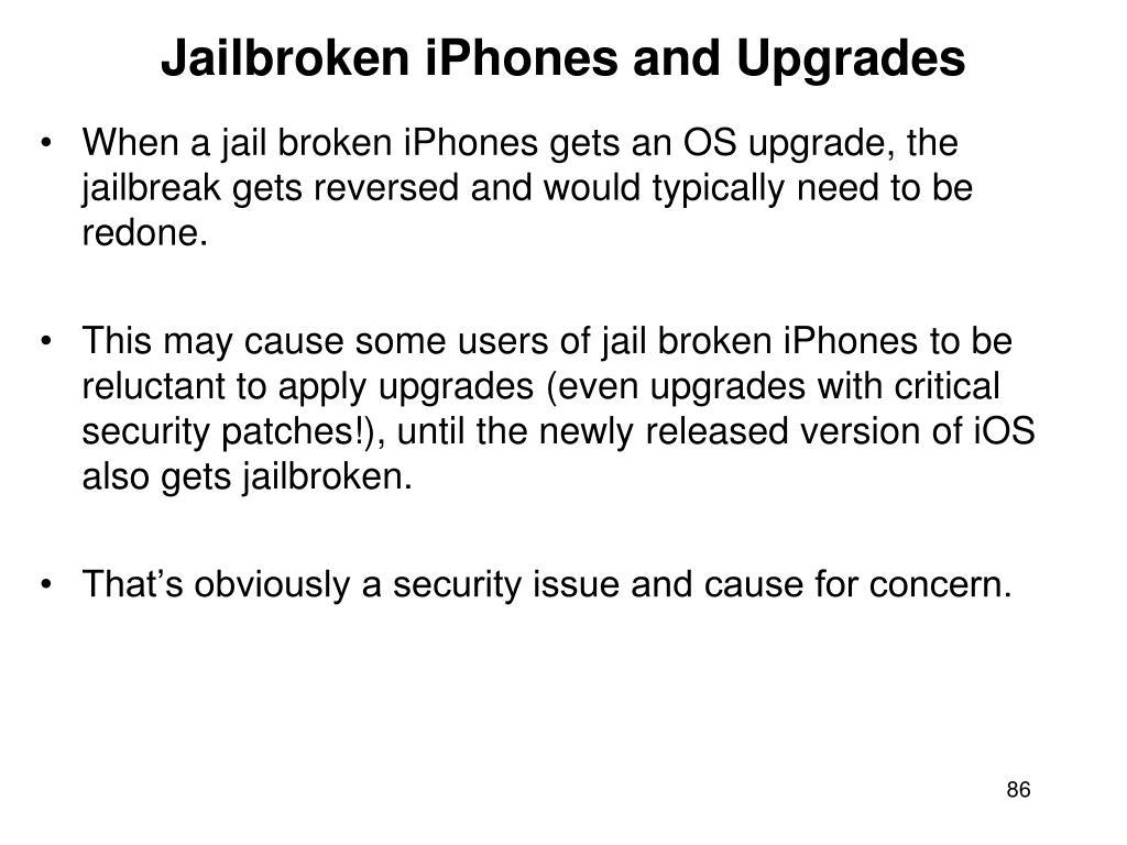Jailbroken iPhones and Upgrades