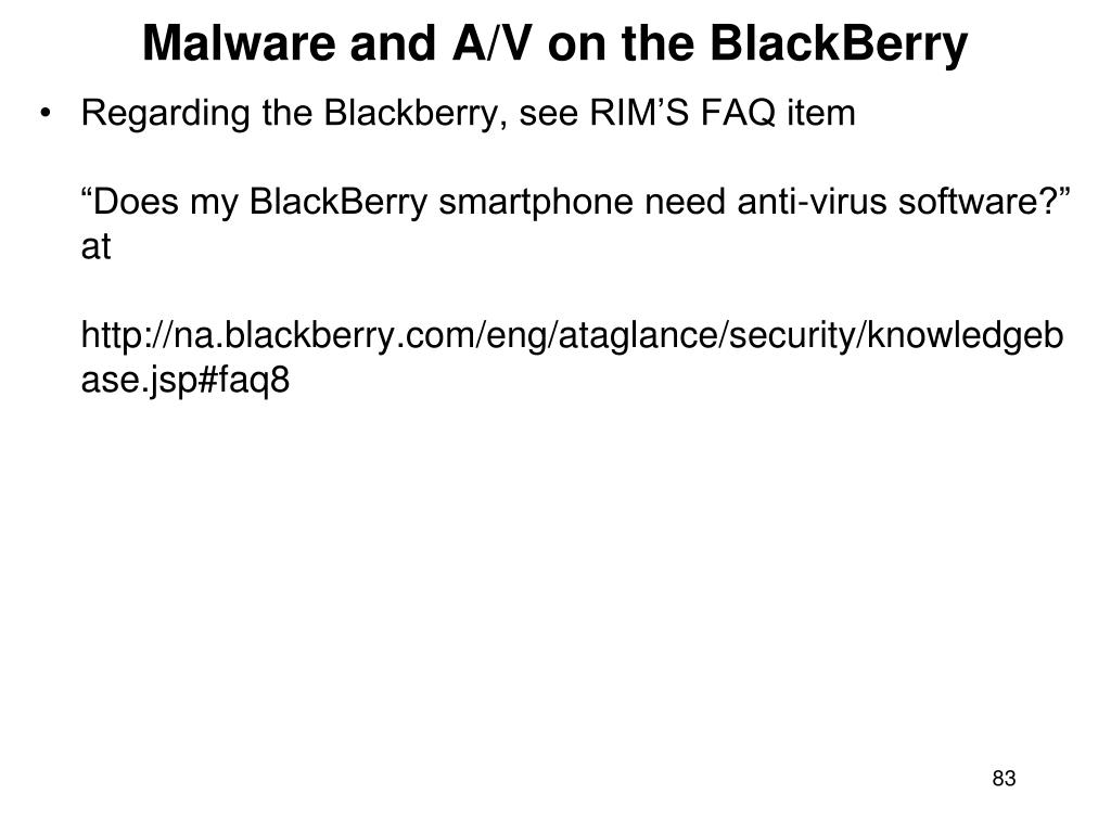 Malware and A/V on the BlackBerry