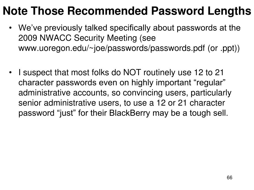 Note Those Recommended Password Lengths
