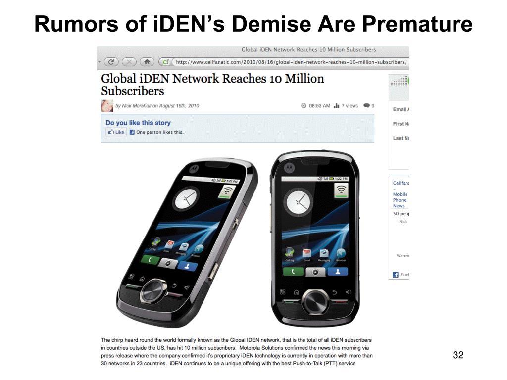 Rumors of iDEN's Demise Are Premature