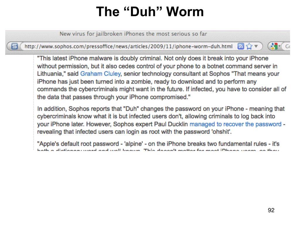"""The """"Duh"""" Worm"""