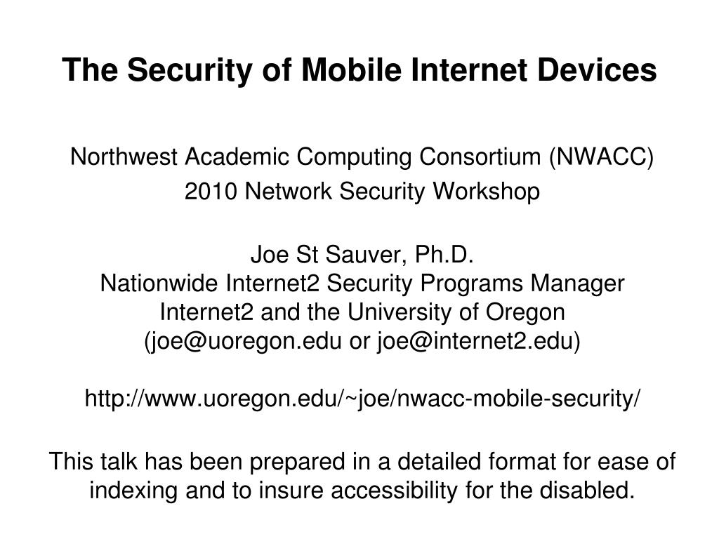 the security of mobile internet devices l.