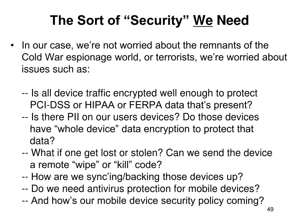 """The Sort of """"Security"""""""