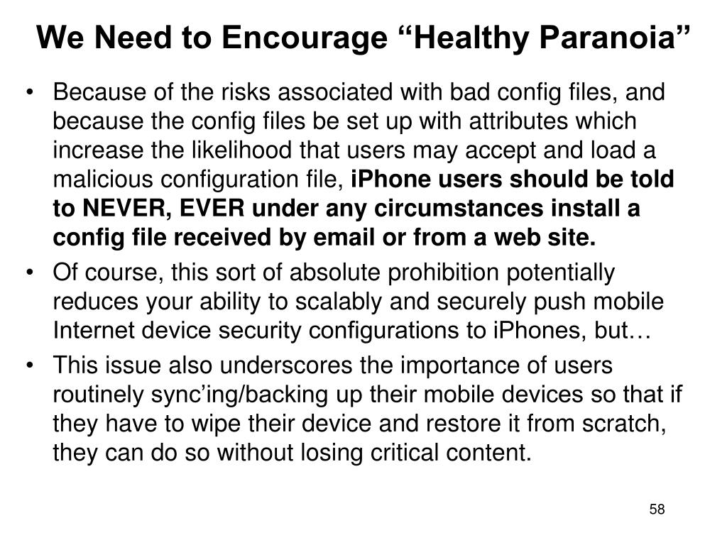 "We Need to Encourage ""Healthy Paranoia"""
