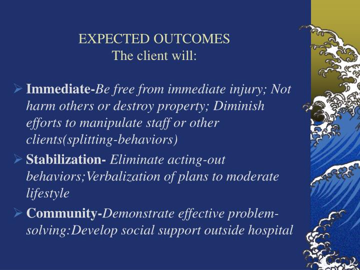 EXPECTED OUTCOMES